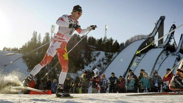 Alex Harvey of Canada competes in the men's world cup cross-country skiathlon Saturday in Lahti, Finland.