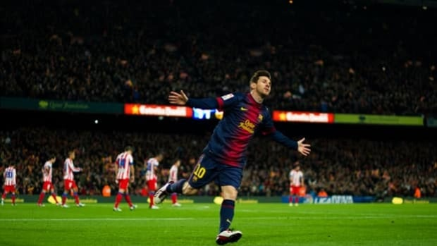 Barcelona striker Lionel Messi exults in scoring in a 4-1 victory over Atletico this past Sunday.