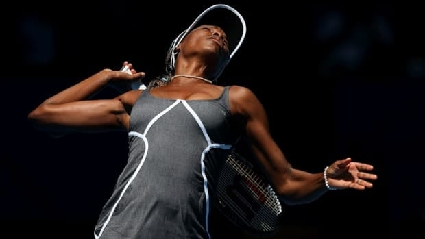 Venus Williams of the USA serves in her singles match against Chanelle Scheepers of South Africa during day two of the Hopman Cup on Sunday in Perth, Australia.