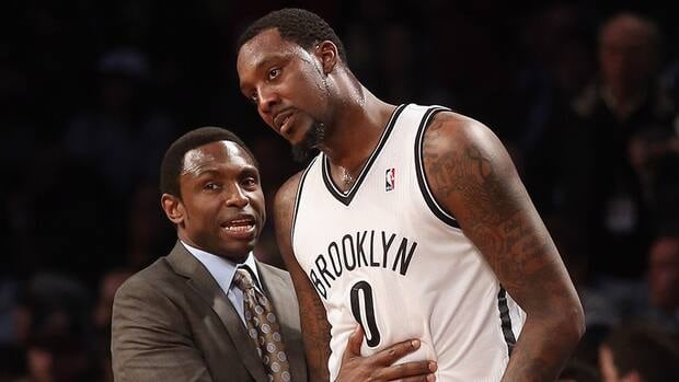 Brooklyn Nets' Andray Blatche, right, as well as Kris Humphries were two of several current and former NBA players to comment about the firing of the team's head coach Avery Johnson, left, on Twitter on Thursday afternoon.