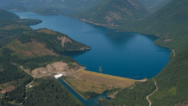 The Duncan Dam, in the Purcell Mountains, is one of four dams included in the Columbia River Treaty.
