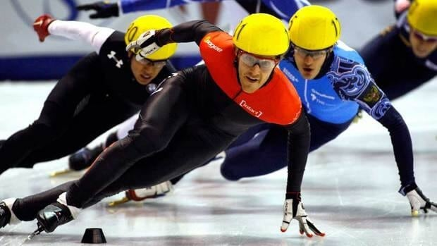Olivier Jean, of Lachenaie, Que., skates to a second place finish in the men's 1000-metre competition at the ISU World Cup short track speed skating event in Calgary on Saturday.