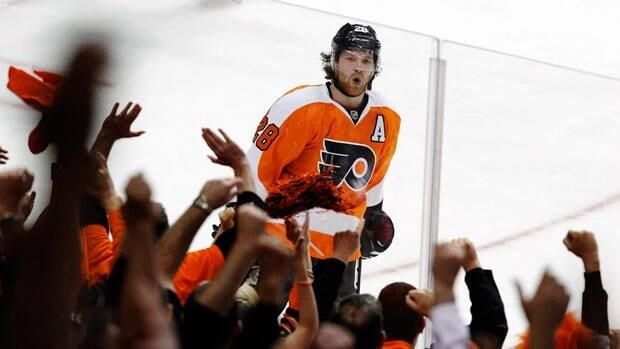 Philadelphia Flyers centre Claude Giroux, shown in this file photo, was suspended for one game on Monday by the NHL.