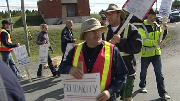 Picketing workers at St. John's International Airport.