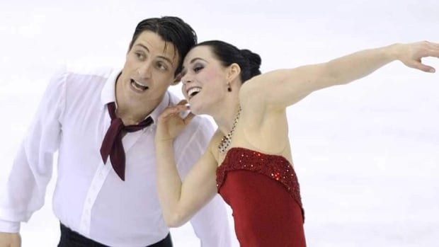 Tessa Virtue and Scott Moir perform their free dance in Nice, France.