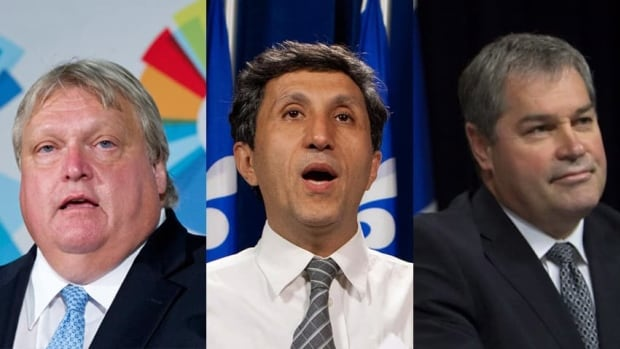 The four major Quebec parties each have high-profile physicians running for them. From left: CAQ candidate Gaétan Barrette (ex-president of the Quebec federation of medical specialists), Quebec Solidaire co-spokesperson Amir Khadir and Liberal Health Minister Yves Bolduc. The fourth, not pictured, is PQ candidate Réjean Hébert, former dean of medicine at Sherbooke University.