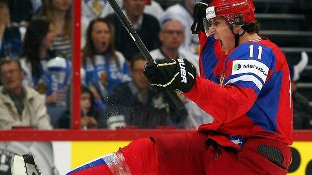 Evgeni Malkin of Russia celebrates after he scores his team's second goal against Finland on Saturday. The Pittsburgh Penguins centre posted a hat trick in the 6-2 semifinal win.