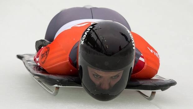 Second-place finisher Sarah Reid, of Calgary, Alta., competes during the women's World Cup skeleton event in Whistler, B.C., on Friday November 23, 2012.