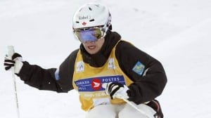 Mikael Kingsbury, here skiing earlier in the season, led a 1-2 Canadian finish in China on Saturday.