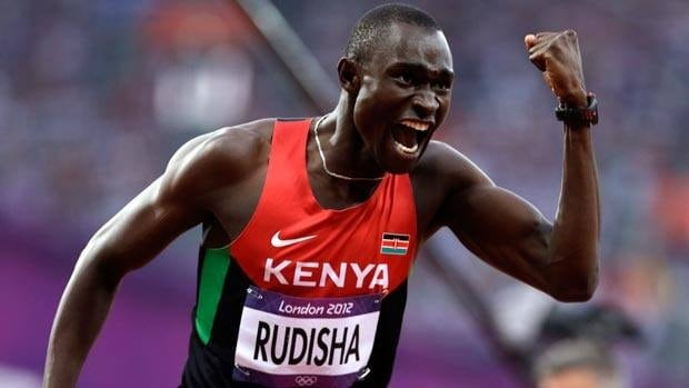 David Rudisha celebrates his gold medal in world record time on Thursday night in London.