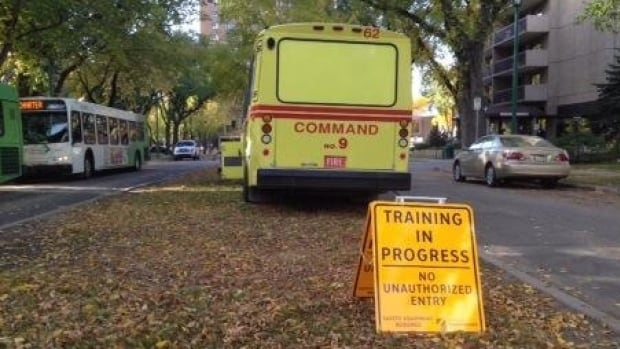 A multi-agency emergency training operation takes place in Saskatoon on Monday.