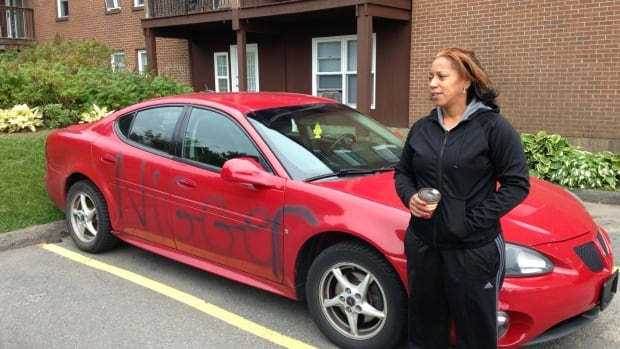garnetta cromwell is upset after someone painted the n word on her car. Black Bedroom Furniture Sets. Home Design Ideas