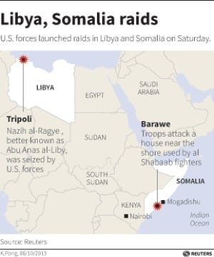 Libya and Somalia raids map