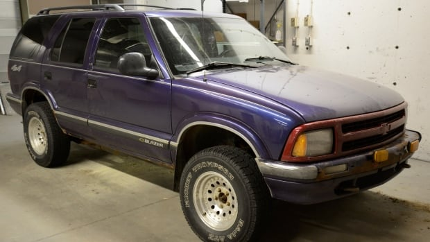 Lethbridge police seized Michael Stanley's vehicle, a purple Chevrolet Blazer, from a west-side home Monday.