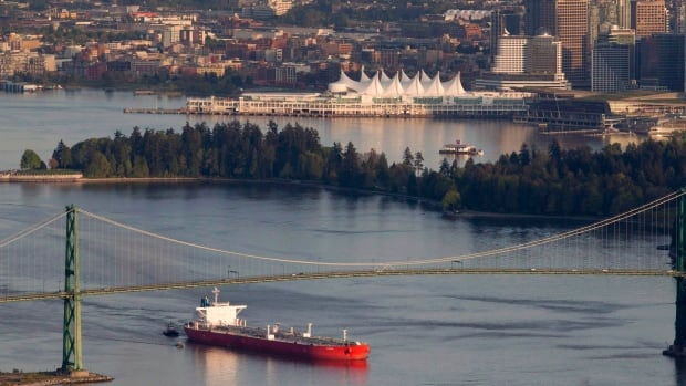 An oil tanker makes its way under the Lions Gate Bridge at the mouth of Vancouver Harbour. Imports of crude oil and other energy products, as well as aircraft and other transportation equipment, drove the August increase in imports that slightly widened Canada's trade deficit to $1.3 billion.