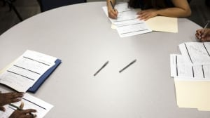 Students complete basic math and customer service tests as part of their work-readiness training in Los Angeles. A large group of U.S. and Canadian adults lack basic numeracy skills, according to an OECD study.
