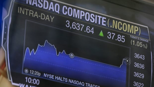 A television displays news about the Nasdaq halting trading on Aug. 22. The exchange has been plagued by technical glitches lately, something analysts say might affect Twitter's decision whether to choose Nasdaq over the New York Stock Exchange for its IPO.