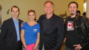 Michael Sona, left, who has been charged with wilfully preventing or trying to prevent a voter from casting a ballot in the 2011 election, appears with an unnamed woman, 2011 Guelph Conservative candidate Marty Burke, and Burke's deputy campaign manager, Andrew Prescott, in a photo posted online April 8, 2011.