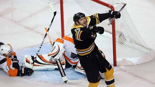 Bruins winger Milan Lucic, front, is all smiles after scoring a first-period power-play goal against the Philadelphia Flyers Friday night in Boston.