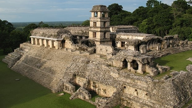 The exhibit will feature recently excavated treatures from sites like Palenque, shown here, in Chiapas, Mexico.