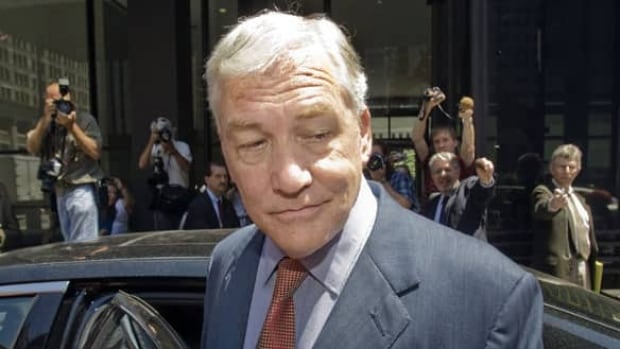 Conrad Black leaves a federal court building in Chicago on July 23, 2010, after his bail hearing.