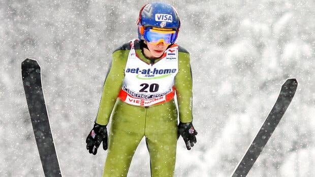 Sarah Hendrickson, seen competing in 2009, jumped 95 1/2 metres to win the first women's World Cup ski jump Saturday in Lillehammer.