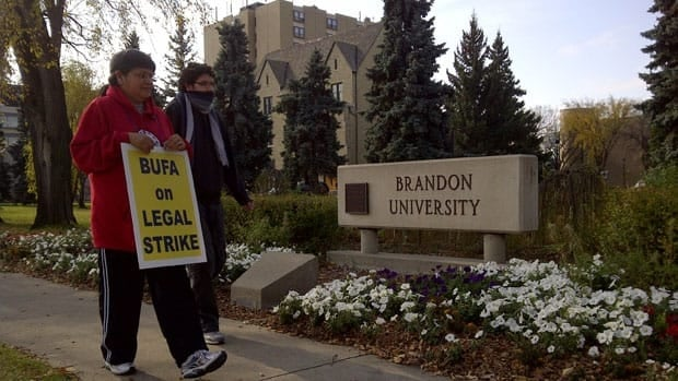Staff at Brandon University are on strike, leaving about 3,000 students shut out of classes.