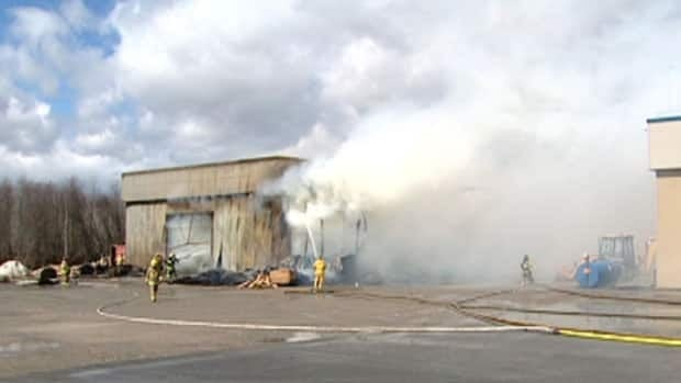A major fire early Sunday destroyed the storage area of Les Bois Heritage furniture factory in Kazabazua.