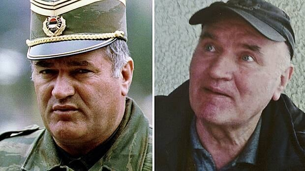 Bosnian Serb army commander General Radko Mladic in 1993 and in Belgrade after he was arrested on May 26, 2011.