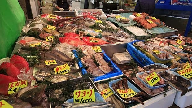 Various types of fish are sold at a shop near the Tsukiji Fish Market, one of the world's largest fish markets, in Tokyo. The spread of radiation has raised concerns about the safety of Japan's seafood, even though experts say the low levels suggest radiation won't accumulate in fish at unsafe levels.