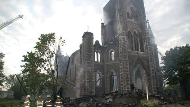 St. Paul's Catholic Church in Aylmer, Que., was consumed by fire on June 11, 2009.