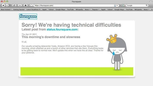 In this screen shot of the fousquare.com website, an apology for technical difficulties is displayed. Dozens of major websites including Foursquare, Reddit and others crashed or suffered severe slowdowns after technical problems hit their hosting company, Amazon.com.