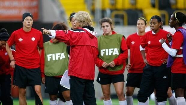 Canada's head coach Carolina Morace instructs her team during training at the Women's Soccer World Cup in Dresden, Germany on Monday.