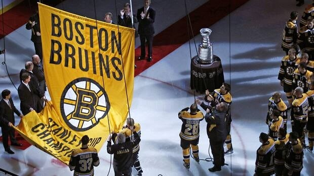 The Stanley Cup banner is hoisted to the rafters of the Boston Garden prior to the Boston Bruins facing the Philadelphia Flyers on Thursday night.