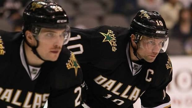 Dallas Stars captain Brenden Morrow, right, looks on during a game at American Airlines Center on Nov. 15.