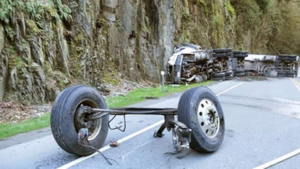 A Columbia Fuels tanker truck crashed Saturday night, closing the Trans-Canada Highway at Goldstream on Vancouver Island for nearly 24 hours. (RCMP)