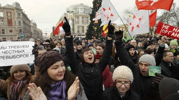 Tens of thousands rallied in cities across Russia to protest perceived election fraud and to demand the ouster of Prime Minister Vladimir Putin.