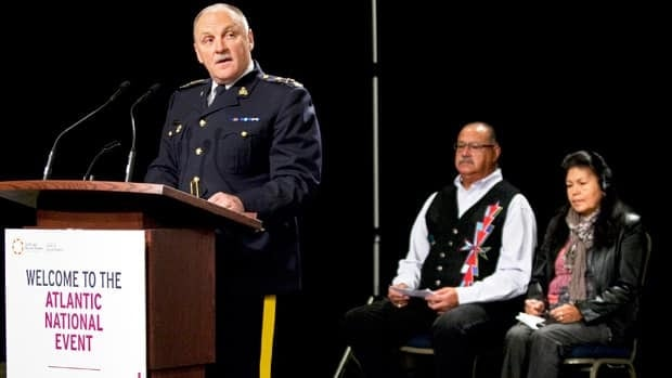 RCMP Deputy Commissioner Steve Graham speaks at a national hearing of the Truth and Reconciliation Commission in Halifax, where the police force released a report detailing its involvement in the infamous native residential school system.