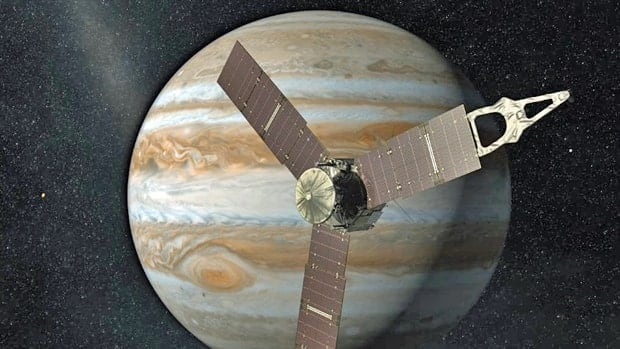 Juno will repeatedly dive between Jupiter and its intense belts of charged particle radiation, coming 5,000 kilometres from the planet's cloud tops at its closest approach.