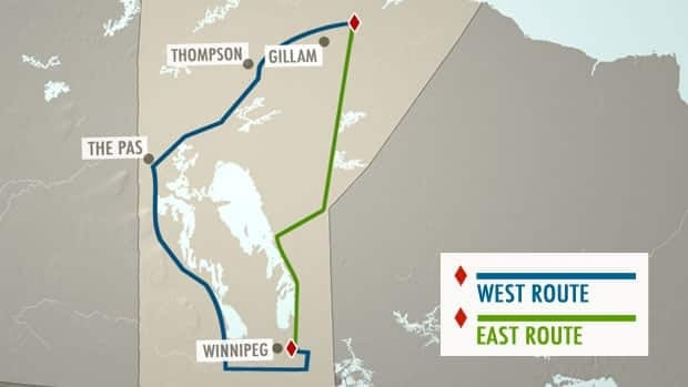 The two potential routes for the Bipole III transmission line are mapped out. The western route,  favoured by the NDP, will run 1,400 kilometres and cost more than $3 billion to build.