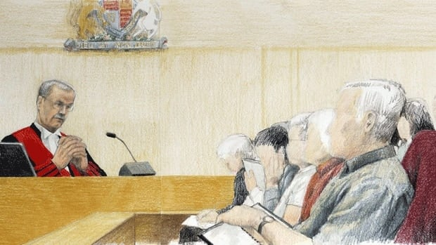 An artist's drawing depicts B.C. Supreme Court Justice James W. Williams addressing the jury in the murder trial of Robert Pickton in a New Westminster, B.C., courtroom in November 2007. The Pickton trial, which lasted almost a year, was the kind of lengthy, complex trial that can put a strain on jurors — not just emotionally but financially.