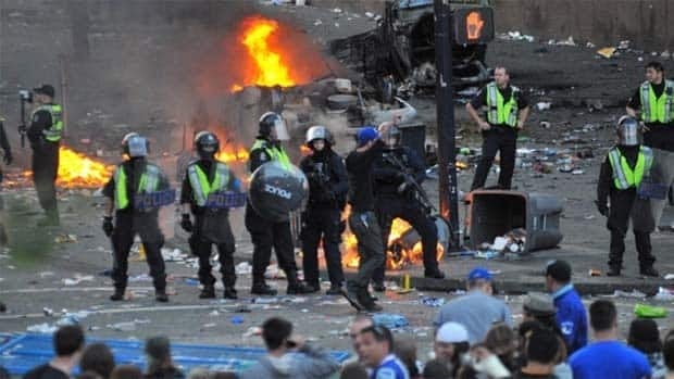 t took about 500 police officers to bring the rioting crowds under control after the final game of the Stanley Cup in Vancouver on June 15.