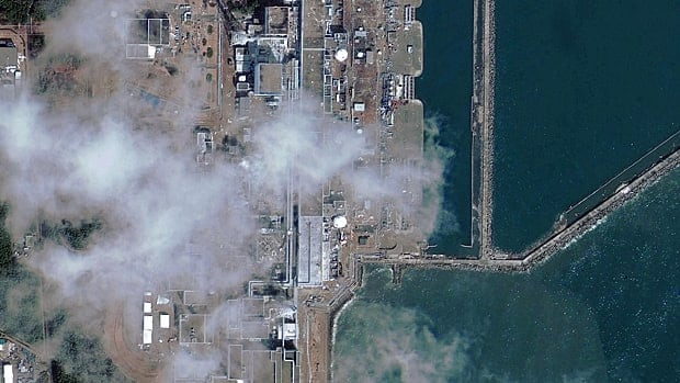 This satellite image taken on March 17 shows the troubled Fukushima Daiichi nuclear power plant. Canada's nuclear safety regulator has requested reviews of all nuclear plants in the aftermath of the Japanese crisis.