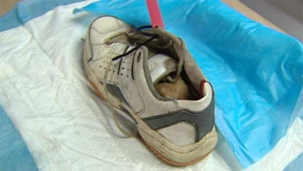 The shoe contained a human foot and part of a leg bone when found floating in a Vancouver waterway Tuesday.