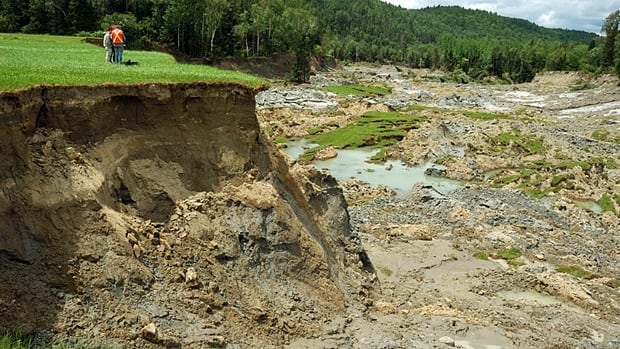 The city of Ottawa is at risk for a big earthquake, experts say. The Val-des-Bois quake that shook the capital in 2010 caused this land collapse in Notre Dame de la Salette, Que.