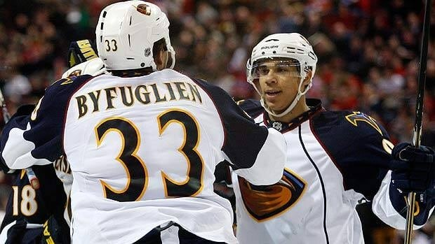 Evander Kane, right, and teammate Dustin Byfuglien were two bright spots for the Thrashers the past season.