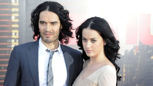 Russell Brand, left, and Katy Perry are shown April 19 at the London premier of Arthur. Brand was deported from Japan Sunday when he attempted to join Perry on tour.