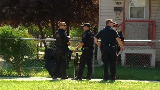 Police respond to reports of shots fired at an address on Roy Ave. Tuesday