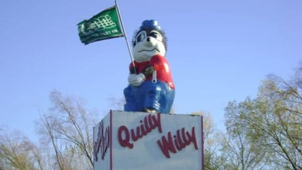 The four-metre tall fibreglass cartoon porcupine is a popular tourist site in the town of 900.