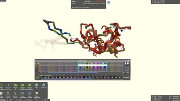 A screenshot from the game shows the puzzle involving the monkey virus protein. For 15 years, scientists had been trying to figure out how it was folded.